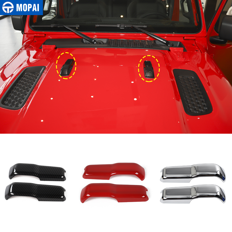 ABS Front Engine Hood Hinge Cover Trim Decor fit for 2018 2019 Jeep Wrangler JL