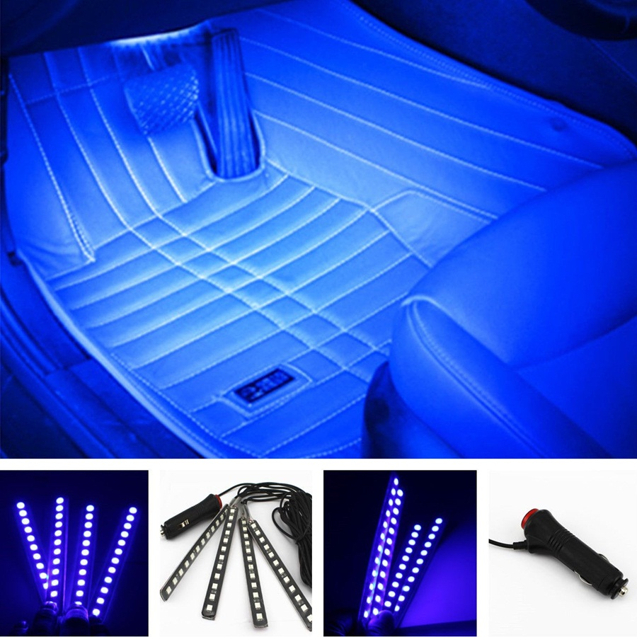 4 in1 12v 6w car styling blue 412 led decorative mood foot light colorful cars charge interior atmosphere daytime running lamp car mood lighting