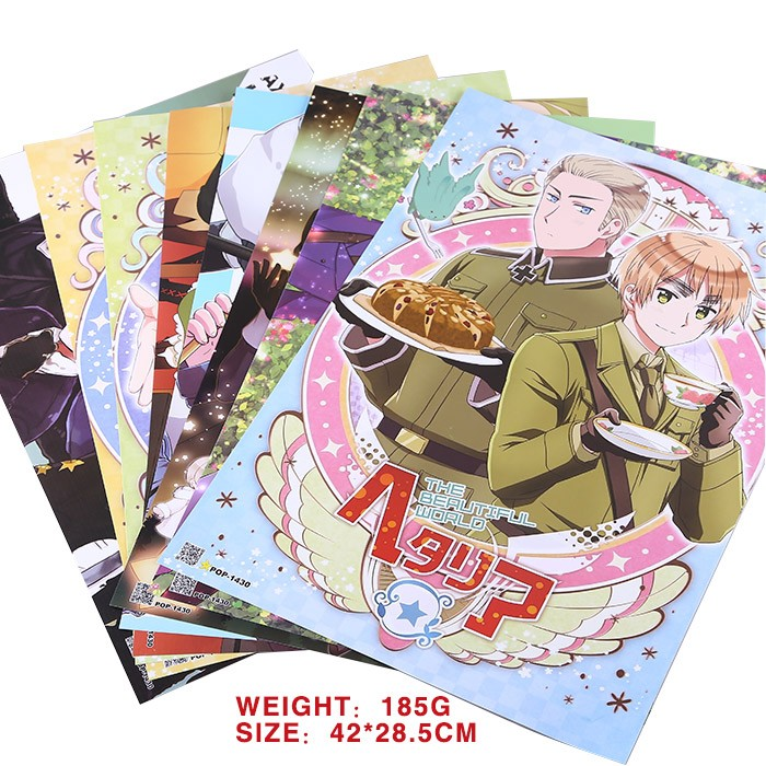 8 PCS/LOT Anime Axis Powers Hetalia Embossing Poster Video Games Hetalia Poster Size 42x29 Cm Toys