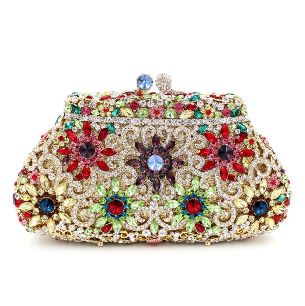 BL004 Rose Flower Clutch Gold Crystal Luxury Women Clutch Bag Ladies Rhinestone Party Bag Designer Crystal Purse Evening bag