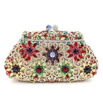 BL004 Rose Flower Clutch Gold Crystal Luxury Women Clutch Bag Ladies Rhinestone Party Bag Designer Crystal Purse Evening bag