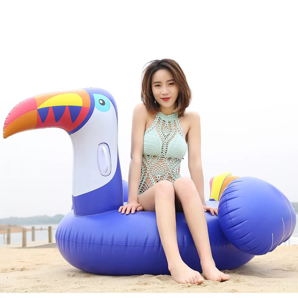 Lifebuoy 200cm Giant Blue Toucan Pool Float Summer Ride-On Swim Inflatable Toys Adult Children Water Party Plaything Lounger