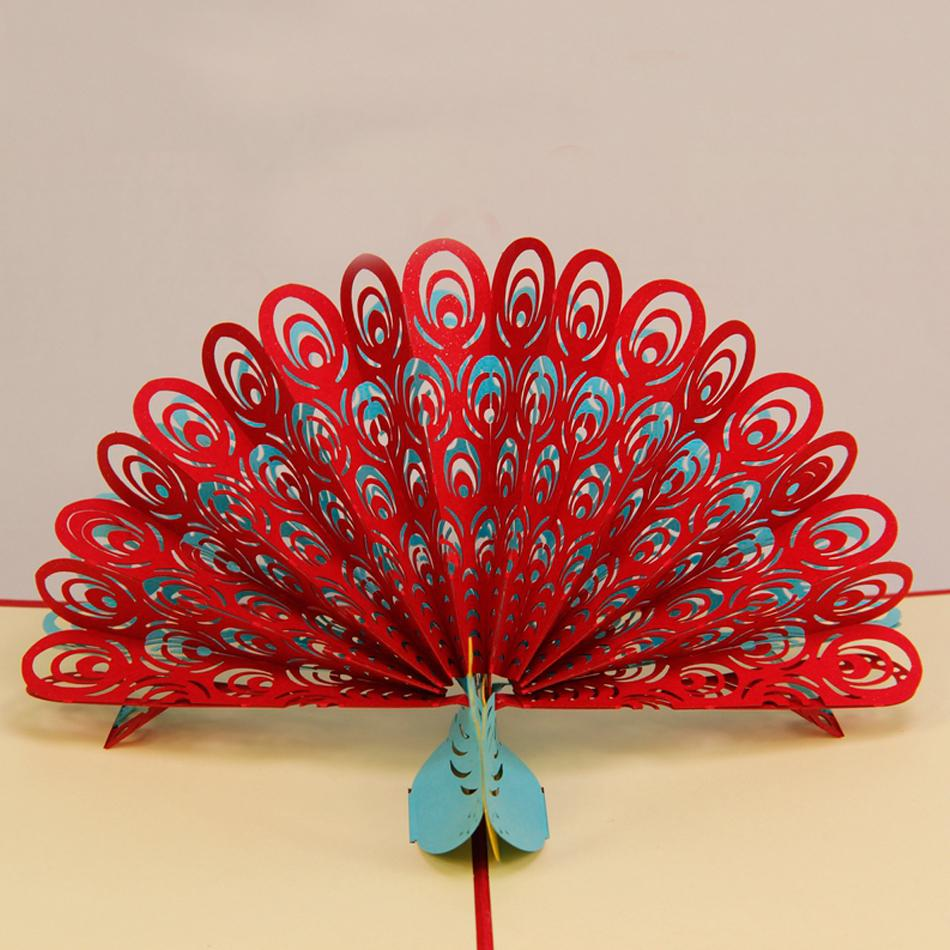 Amazing cool 3d pop up cards custom greeting cards 3d peacock in red amazing cool 3d pop up cards custom greeting cards 3d peacock in red for birthday personalised cards free shipping on aliexpress alibaba group m4hsunfo