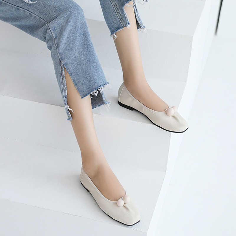 Cuir souple plat retrousser chaussures femmes grande perle décorer ballerines dames confortable enceinte pliable chaussures creepers femme