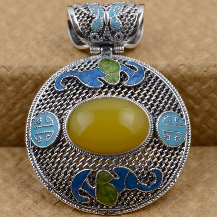 S925 filaments Shaolan craft silver inlaid Huang Yusui Pendant in front of blessing silver supply s925 sterling silver pendant jewelry beeswax blessing in front of the pendant antique shaolan process female models