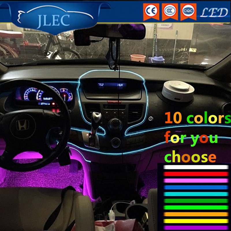 2017 Car EL Wire LED light battery Cold Light Decoration Strip 10Color Tube Rope Flexible Neon Wedding Party Dance Decor for Car 2017 new flexible neon el wire 220v 1 3mm 15meters pink led glowing light rope for christmas tree and car moulding decoration