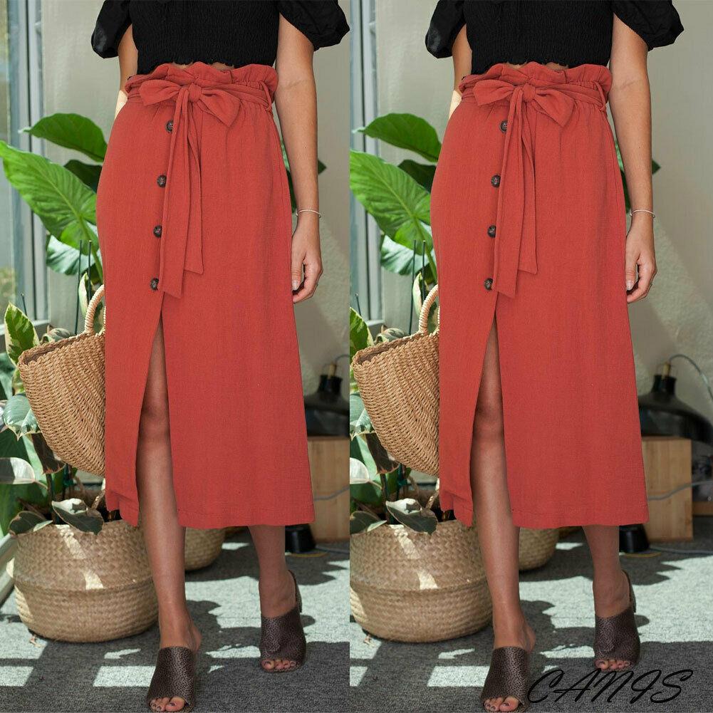 Womens Button Bandage Midi Skirt High Waist Bow Tie 2019 Summer Sexy Split Wrap Red