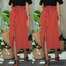 Womens Button Bandage Midi Skirt High Waist Bow Tie 2019 Summer Sexy Split Wrap Skirt Red