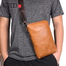 AETOO Original vintage leather clutch bag Men and womens first layer handbag Multifunctional shoulder soft