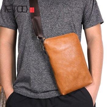 AETOO Original vintage leather clutch bag Men and women's first layer leather handbag Multifunctional shoulder bag soft leather