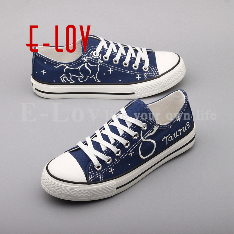 E-LOV Unique Design Taurus Horoscope Luminous Canvas Shoes Women DIY Graffiti Couples Lovers Casual Flats zapatillas mujer e lov hand painted graffiti horoscope canvas shoes custom luminous graffiti gemini casual flat shoes women zapatillas mujer