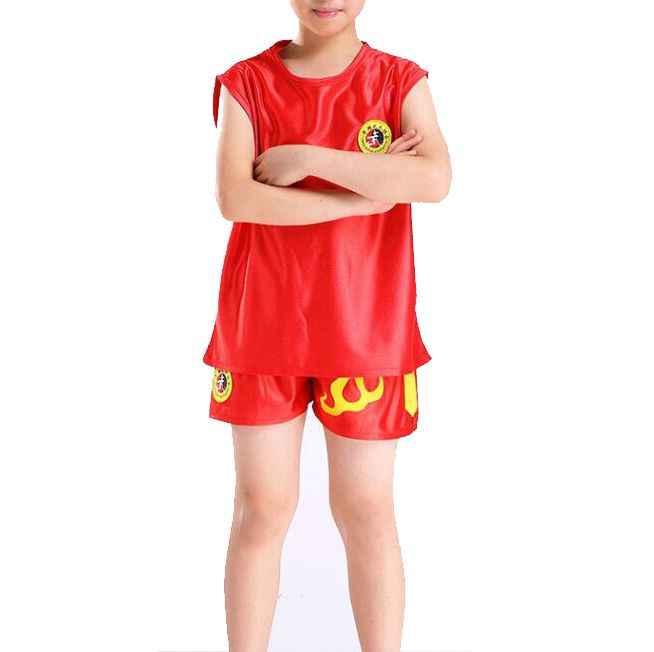 Zomer unisex kinderen Kung fu martial arts uniformen pak sanda boksen kleding kinderen wushu pakken zwart/rood/blauw