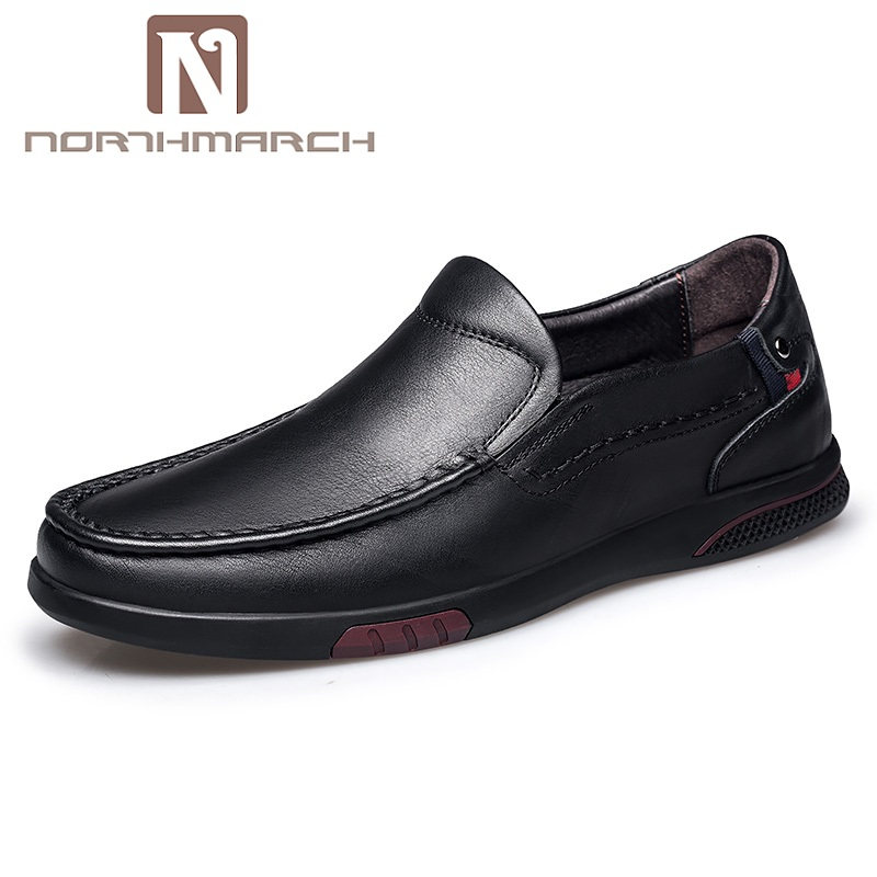 NORTHMARCH Business Shoes Men Oxford Genuine Leather Spring Summer Breathable Office Slip-On Driving Mens