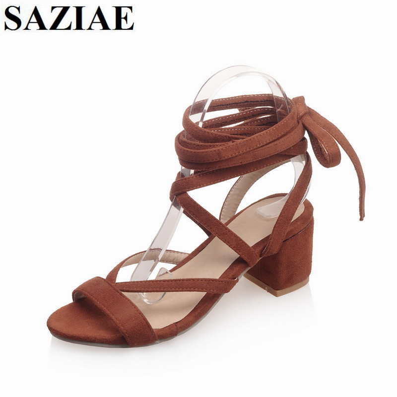 цены на 2016 Fashion Hot Sale Women Shoes Square  Heels Gladiator Women Sandals Lace up Sexy Knee High Summer Flock Casual Women Shoes в интернет-магазинах