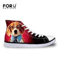 FORUDESIGNS Cute Pet Dog Printing Women S Vulcanized Shoes 2017 Fashion Women High Top Canvas Shoes