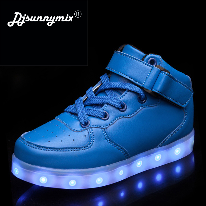 DJSUNNYMIX Kids Boys Girls USB Charger Led Light Shoes High Top Luminous Sneakers casual Lace Up Shoes Unisex Sports for child children usb charger luminous shoes lace boys girls led light sneakers fashion kids night show casual shoes brand