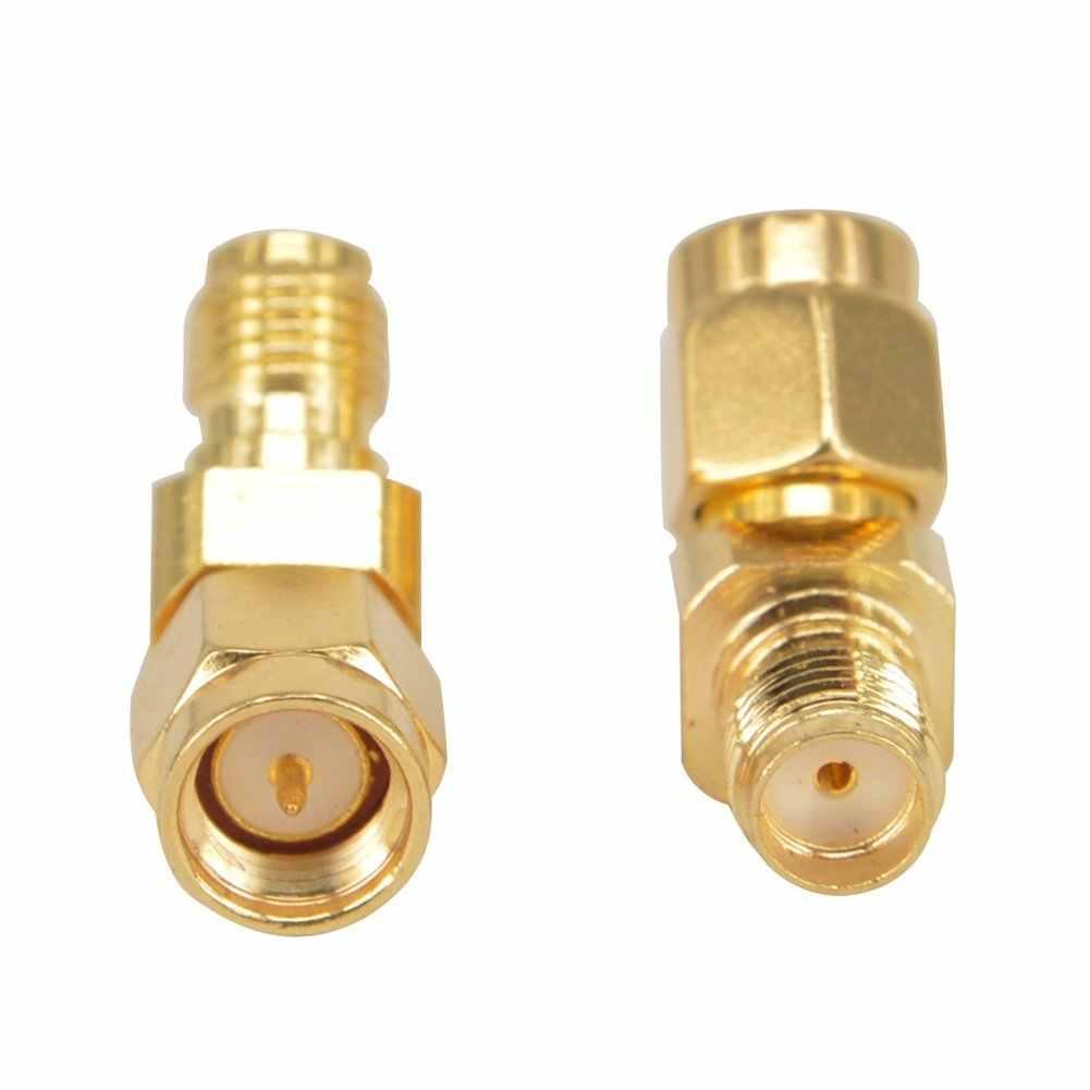 Adaptador de antena SMA macho a hembra de 45 grados conector chapado en oro para FPV RX5808 Fatshark gafas paquete de 2, oro