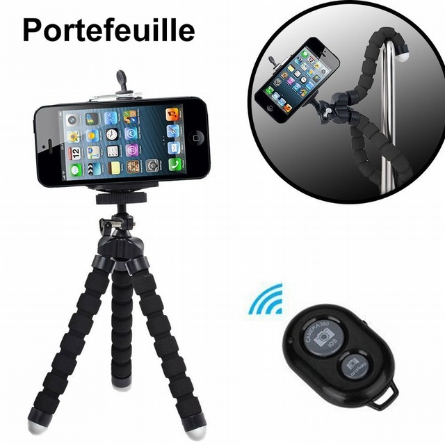 wholesale dealer 30af3 edb3c US $4.49 10% OFF|Portefeuille Mobile Phone Selfie Holder Tripod Stand For  iPhone 8 Plus X 10 7 6 S Samsung Galaxy Note 8 A5 2017 A3 A7 Smartphone-in  ...