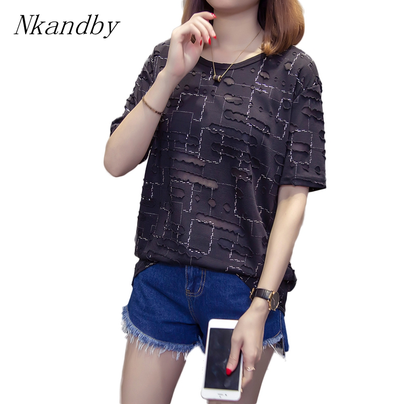 Nkandby Plus Size Hole Women T Shirt Summer Vintage T-shirts Short Sleeve Chic Tops Oversized Loose Female Tshirts Silver Plaid