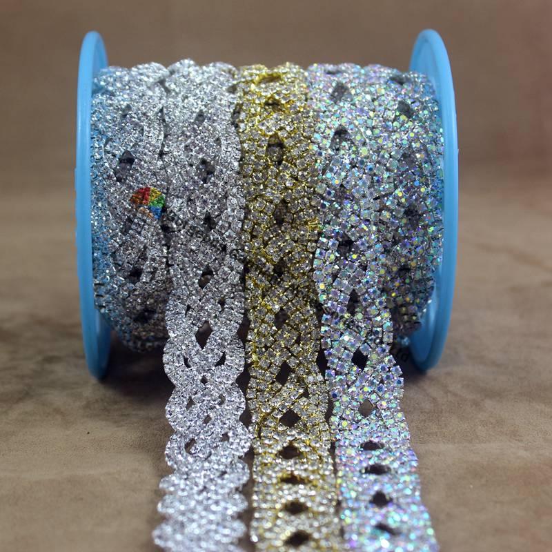 Aliexpress.com   Buy 1 yard Fashion AB Crystal Rhinestone Chain Braided  Costume Applique Bride Trims DIY Browbands wedding gown dress decoration  from ... 7183fcff4faa
