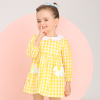 Kids Girls Plaid Dress Long Sleeve Dress For Little Girl 2017 Spring New Arrival Girls Brand