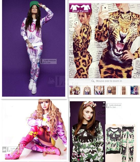 2016 das mulheres do outono inverno clothing animal tigre camuflagem crânio 3d imprimir camisola hoodies elegante 2 peças mulheres fatos de treino