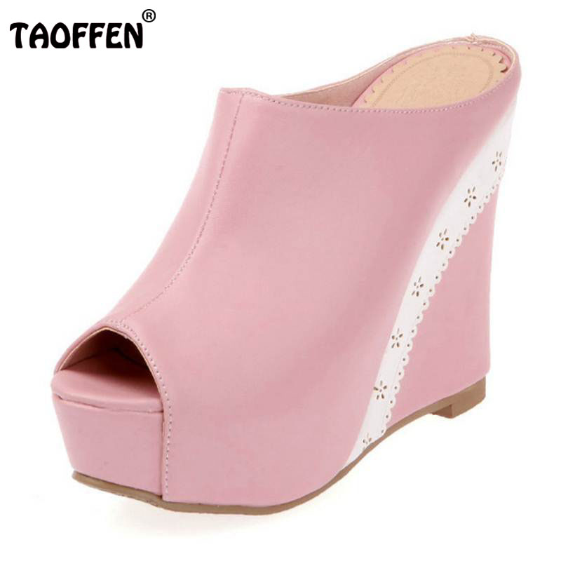 TAOFFEN Size 34-42 Women High Wedges Sandals Peep Toe Platform Slippers Trifle Shoes Women Party Club Vacation Women Footwears лампа king page autumn a6 sx4 led