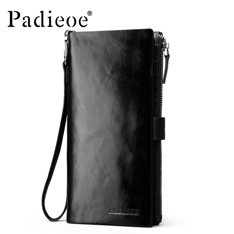 ФОТО Padieoe Hot Genuine Leather Long wallet men zipper pocket clutch bag Top quality Durable key chain card holder Wallet Handbag
