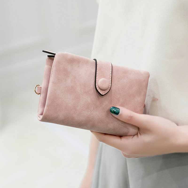 2018 Nubuck PU Leather Women's Short Wallet Bag Money Card Women's Holders Fashion Zipper Small birthday gift Soft Girl Wallet