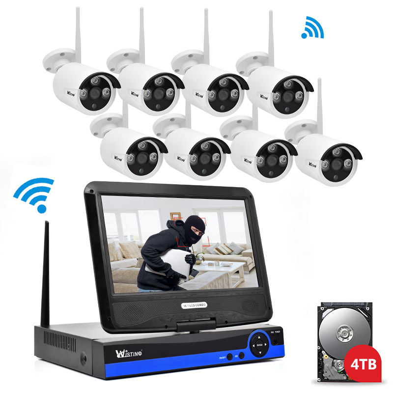 Wistino 1080P Wifi Kit CCTV System Wireless 8CH NVR Security IP Camera Outdoor P2P Monitor Kits LCD Screen Surveillance Camera