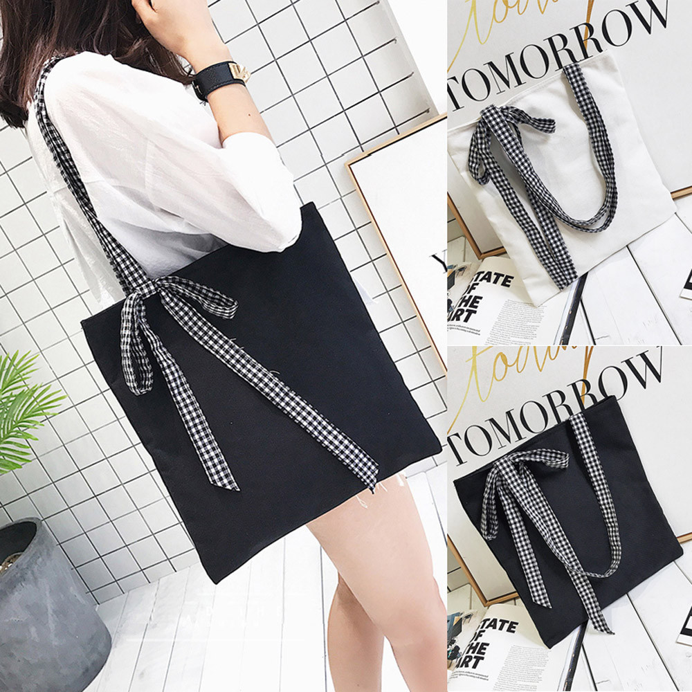 Women's Bow Tie Canvas Tote Single Shoulder Bags Handbags Bags Designer