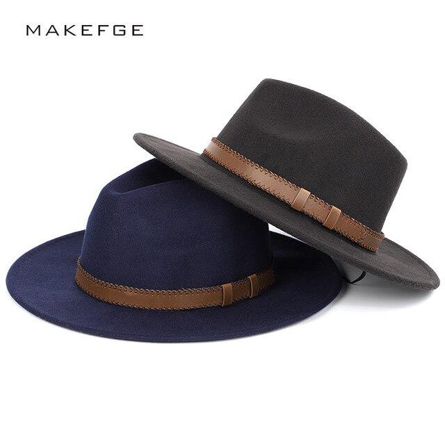 wide brim fedora Winter Autumn Imitation Woolen Women Men Ladies Fedoras Top  Jazz Hat European American Round Caps Bowler Hats 5ac74fe32002