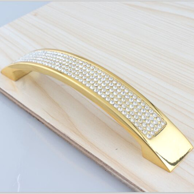"""128mm moda moderna de luxo strass móveis alças armário do vinho de cristal k9 ouro deresser porta de armário da cozinha alças 5"""""""