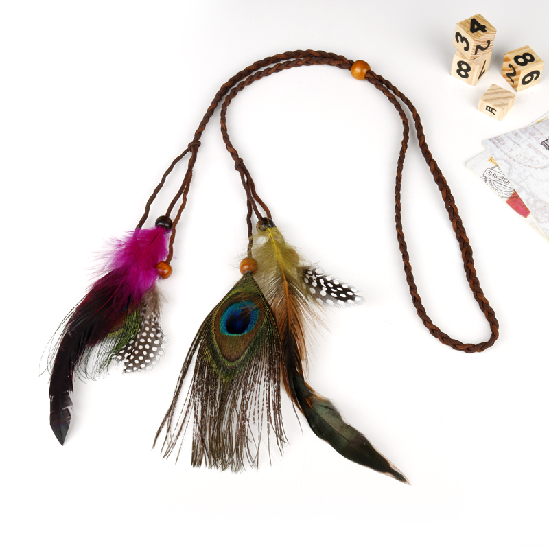 dongsheng Bohemian national wind Indian hair ornaments tassel wig rope wooden peacock feather hair band headdress -30