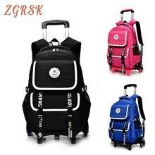 Kids Oxford Wheeled Bookbag Children Removable School Back Pack Bags For Boys Girls Child 2/6 Wheels Trolley Backpack Bagpack все цены