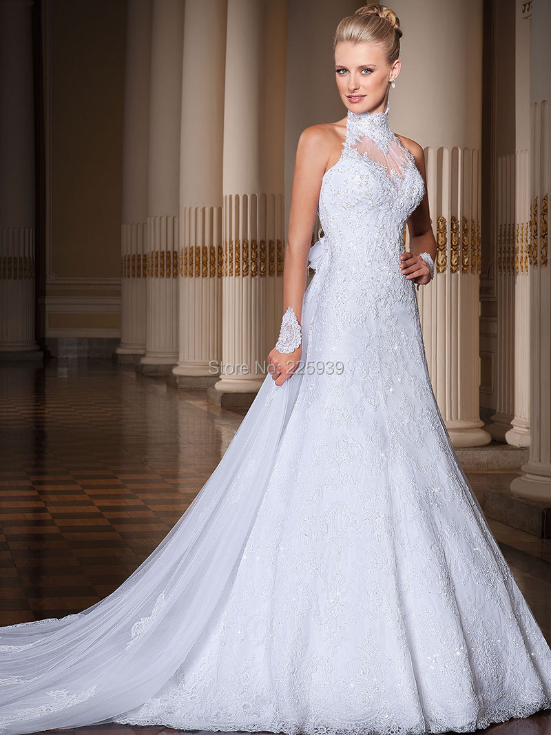 Popular high neck halter wedding dress buy cheap high neck for Aline halter wedding dresses