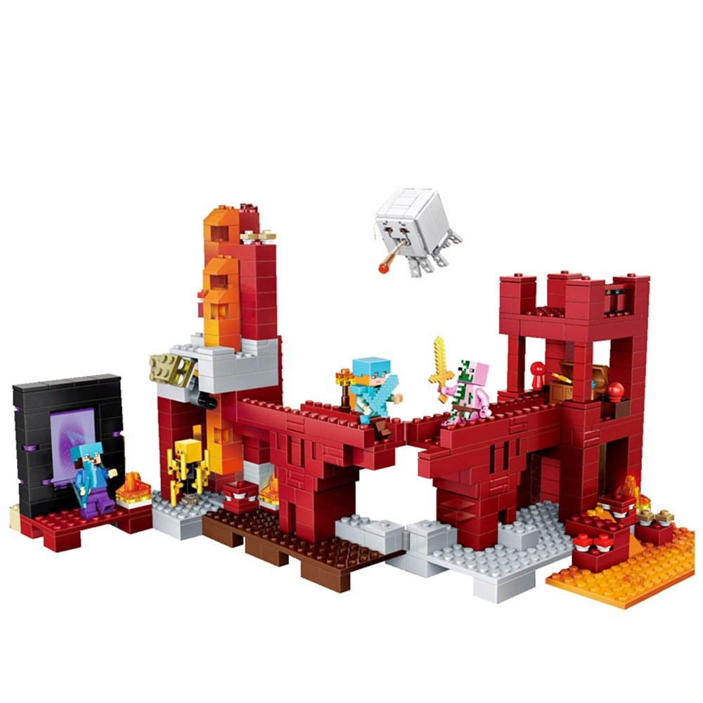 Model Building Fast Deliver Legoings Minecrafted The Nether Fight Building Blocks 94pcs With Alex Zombie Skeleton Toys For Children Gift Minecrafte Legoing Toys & Hobbies