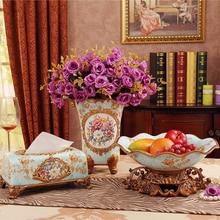 Керамика ваза элегантная простота трех частей Цветочный Таблица костюм Европейский гостиная украшения ремесла