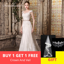 sarahbridal Sweety Applique Wedding Dress 2019 Court Train
