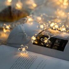 Светодиодный вишня в цвету цветок персика строка светильник на солнечных батареях фея рождество светильник Батарея работает 1/2/3/4/5/10/20 м сакура гирлянда для декора стен