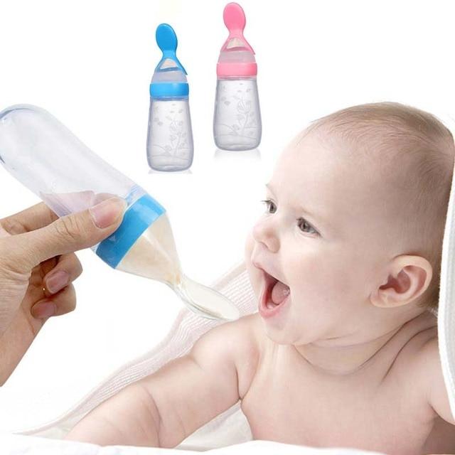 Infant Silica Gel Feeding Bottle With Spoon Newborn Baby