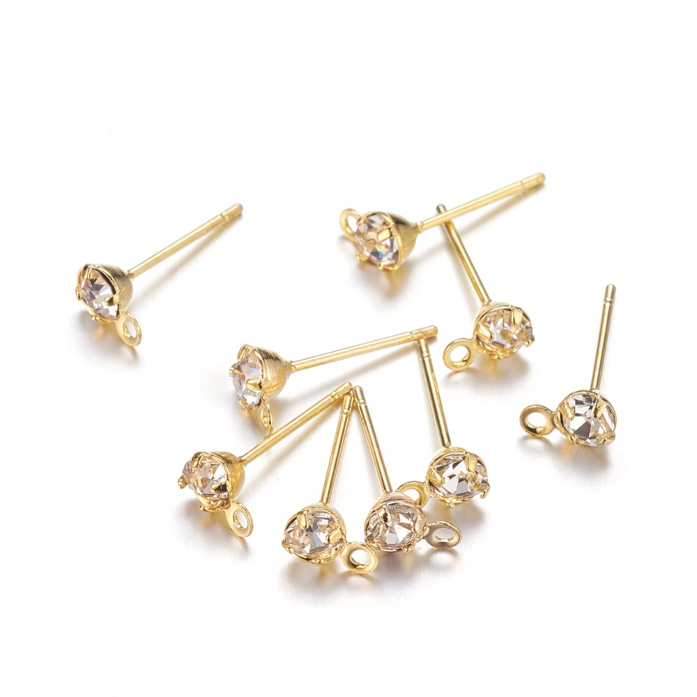 500pcs golden Color Brass Post Earring Components with Rhinestone, about 5mm wide, 15mm long, hole: 0.5mm; Pin: 0.8mm