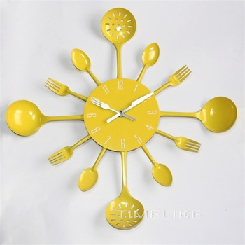Fork And Spoon Decor | Wall Clocks 2019 New Arrivals Fashion Style Spoon Fork Home Decoration Metal Kitchen Cutlery Slient Clocks Horloge Mural