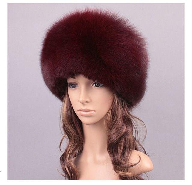 2017 New Fashion Womens Fox Fur Hats with Sheep Leather Lady Natural Fur Caps Winter Warm Fur Solid Headwear LX00813