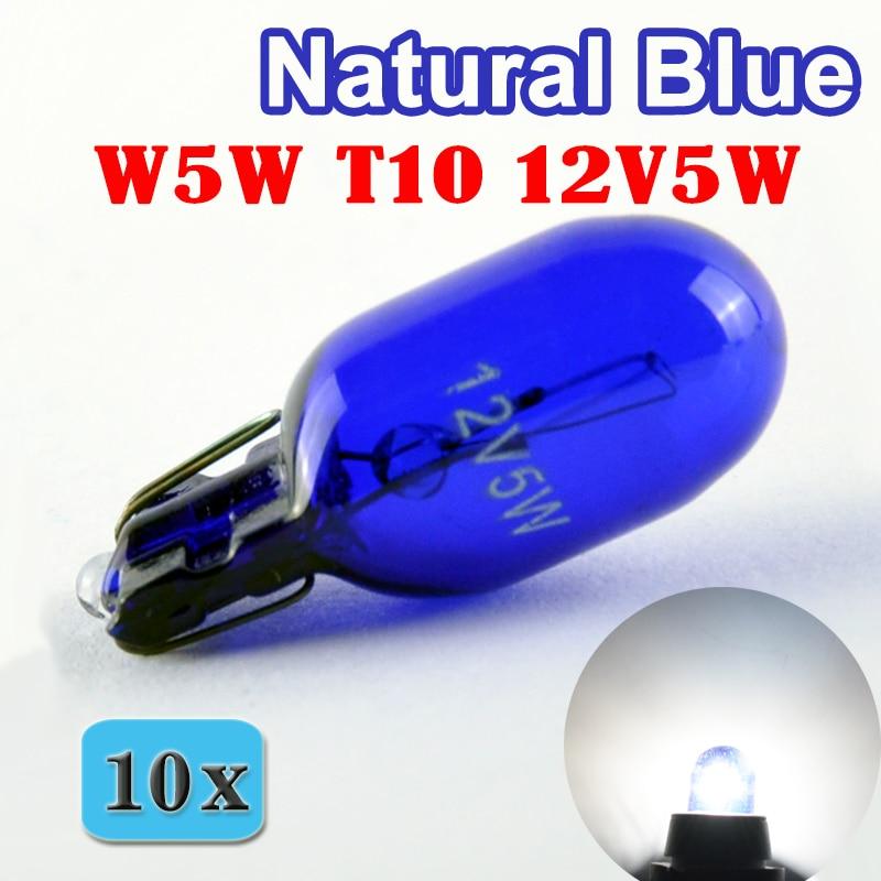 Flytop (10 шт./лот) 501 W5W XENON T10 натуральное голубое стекло 12 В 5 Вт W2.1x9.5d одна лампа накаливания супер белая автомобильная лампа