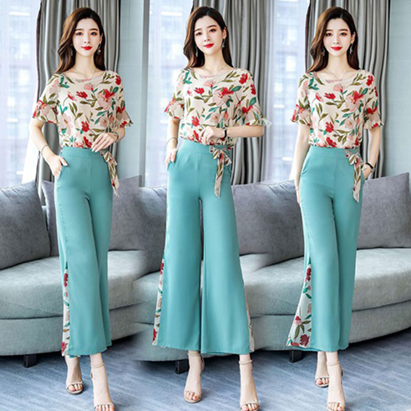 2019 new Fashion elegant chiffon 2 Pieces Suits Summer Women short sleeve floral shirt blouse and wide leg pants trousers Sets