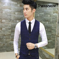 Mauchley 2017 Man Suit Vest Fashion Slim Fit Thin Grid Plaid Men waistcoat Tops Slim Business Jacket Fit Wedding Blue Black Grey