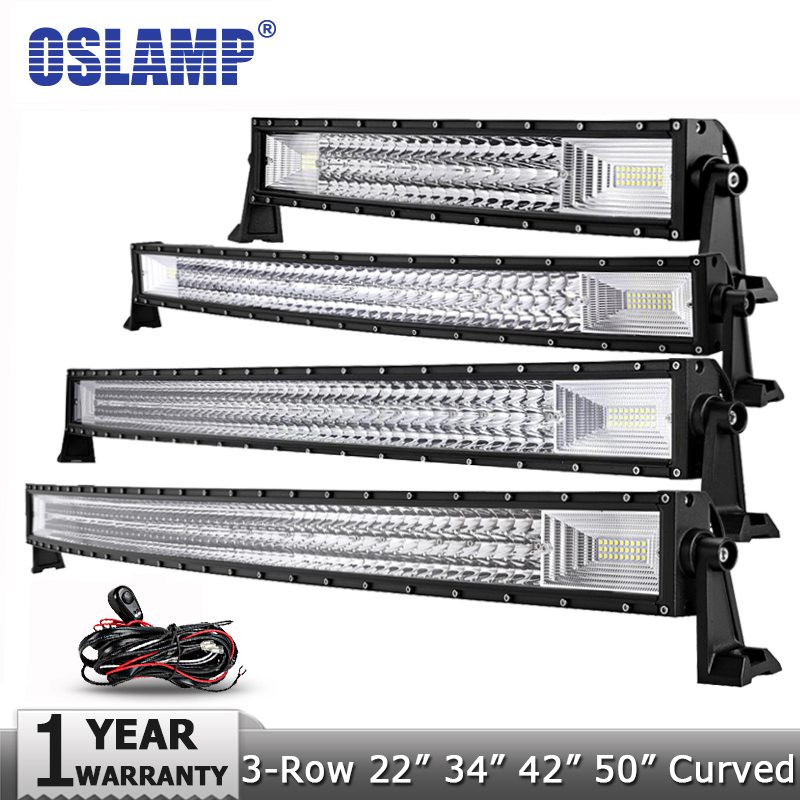 Oslamp 3-Rangée 12 20 22 23 34 42 50 Droite/ courbe LED Light Bar 4x4 Offroad Led Bar Combo Faisceau Led Light Bar Travail 12 v 24 v
