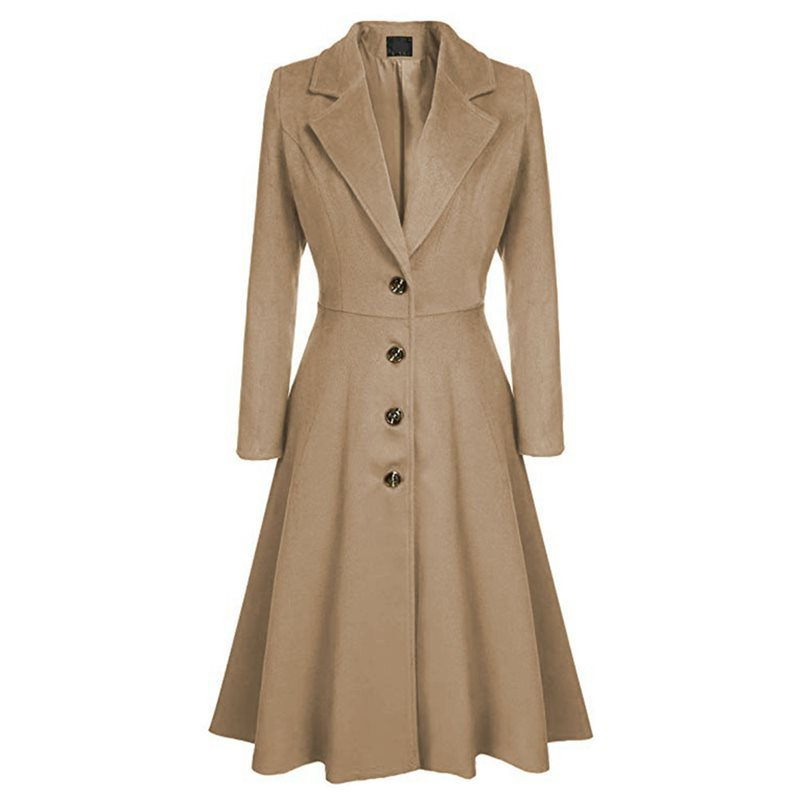 Winter Wool Warm Casual Office Ladies Plus Size Women Long   Trench   Coats Slim Lapel Pleated Button Autumn Retro Female Overcoats