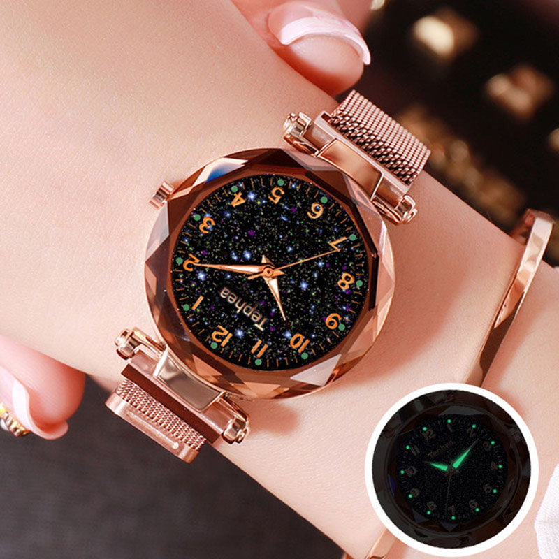 Luxury Rose Gold Women Watches 2019 Fashion Starry Sky Ladies Quartz Magnetic Clock Female Luminous Wristwatch Relogio Feminino